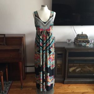Style & Co.  Printed Maxi Dress Beaded detail